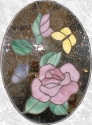 Stained Glass Rose w/ Butterflies Panel
