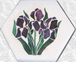 Iris Stained Glass Stepping Stone