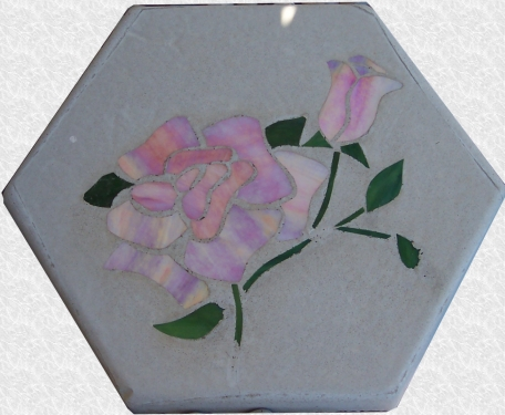 Stained Glass Rose Stepping Stone
